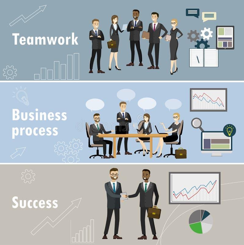 Bannière d'affaires, trois thèmes - travail d'équipe, équipe d'affaires, succès illustration libre de droits