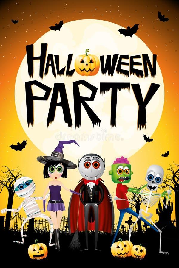 Bannière d'affiche de partie de Halloween - illustration illustration stock