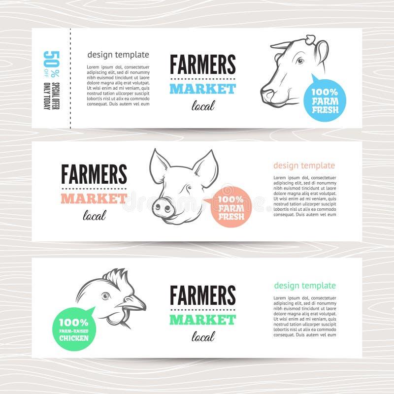 Bannière d'agriculteurs avec des animaux photo stock