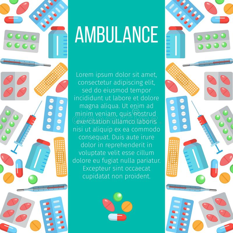 Bannière d'ambulance avec les icônes plates illustration libre de droits