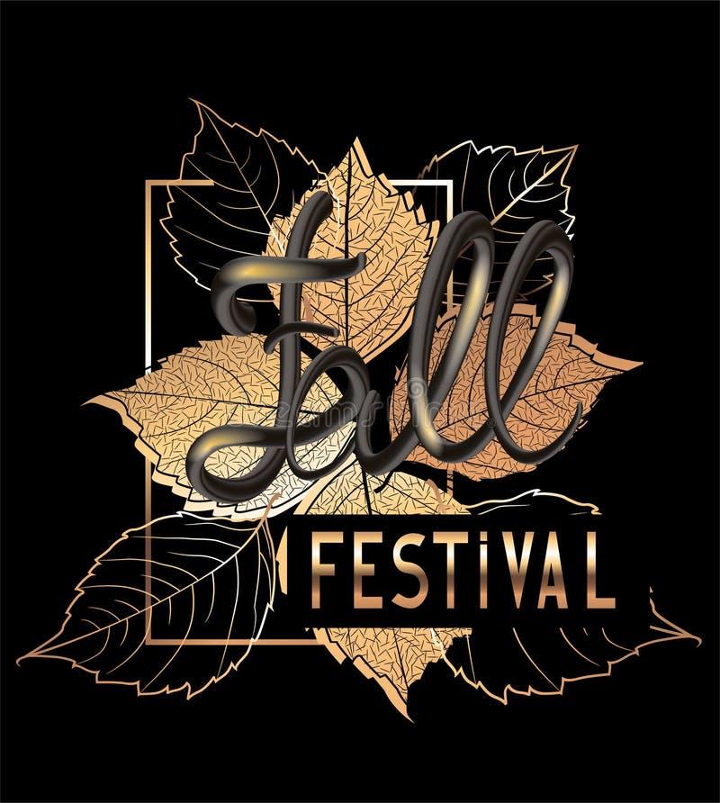 Bannière d'annonce de festival de chute avec les feuilles et les lettres en baisse d'or de volume illustration stock