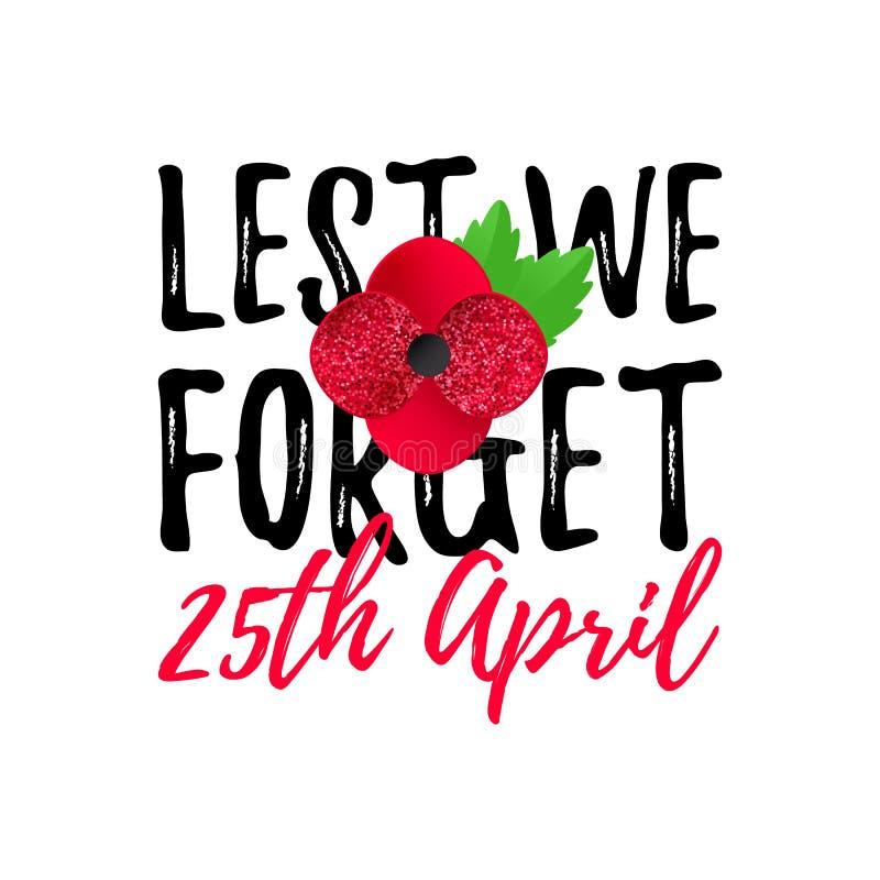 Bannière d'Anzac Day Poppy, carte De peur que nous oubliions la citation 25 avril date illustration de vecteur