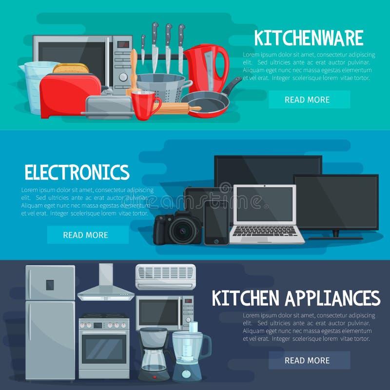 Bannière d'appareil ménager de la vaisselle de cuisine, l'électronique illustration libre de droits