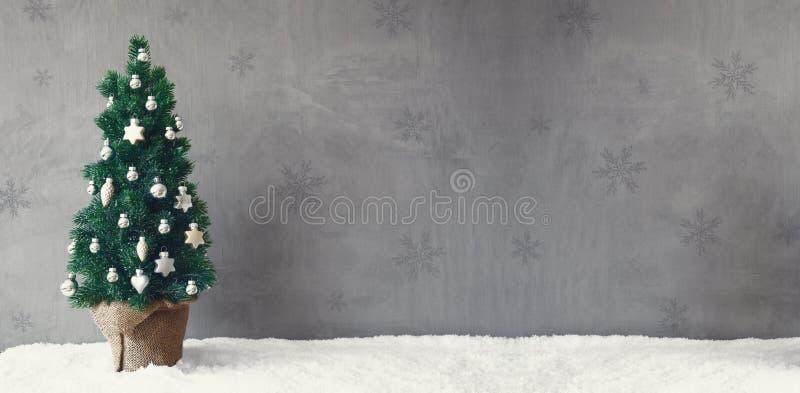 Bannière d'arbre de vintage, flocons de neige, ornement de boule de Noël, l'espace de copie image libre de droits