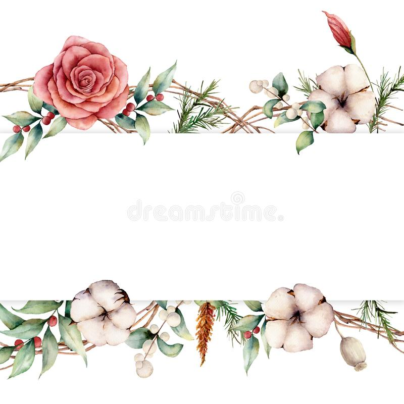Bannière d'automne d'aquarelle avec des plantes, des fleurs et des baies Le coton peint à la main, s'est levé, lagurus, feuilles  illustration stock