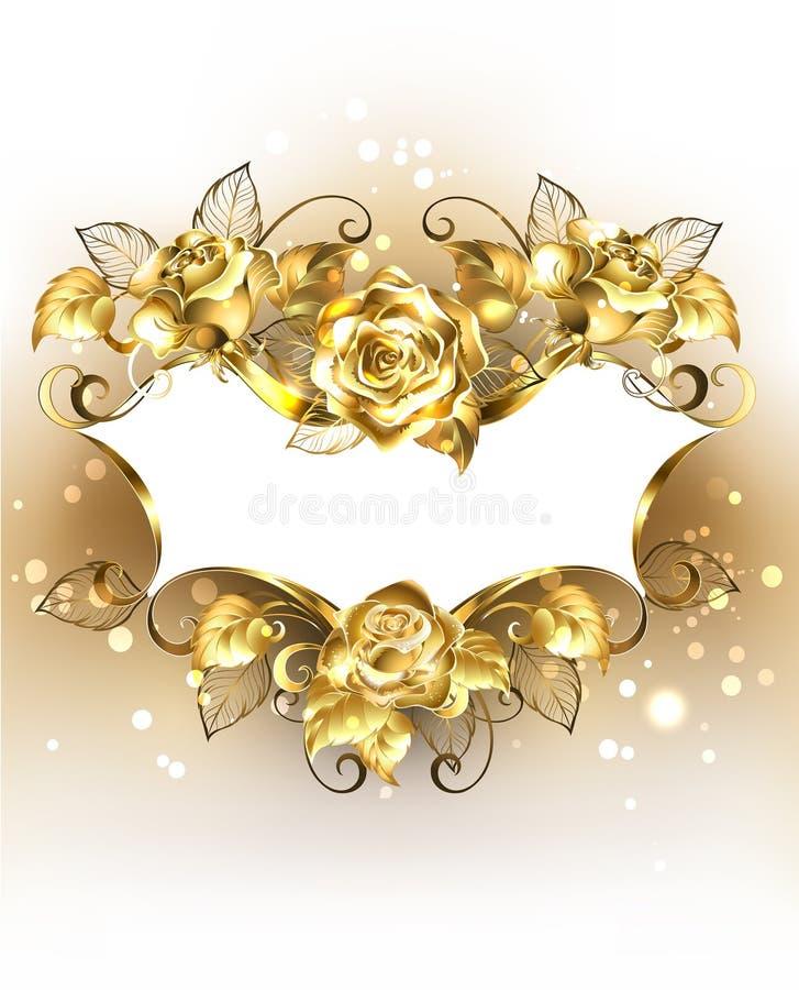 Bannière d'or avec des roses d'or illustration stock