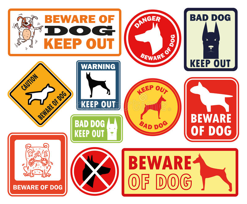 Bannière d'avertissement de signe de chien de griffonnage illustration stock