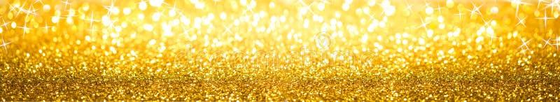 Bannière d'or de fond de scintillement images libres de droits