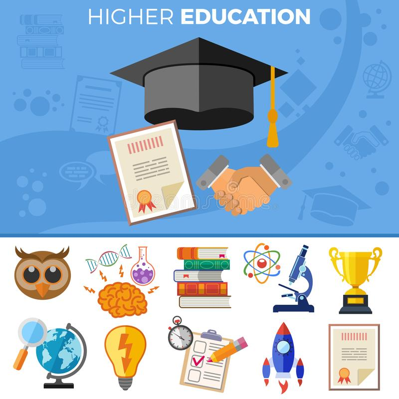 Bannière d'enseignement supérieur illustration libre de droits