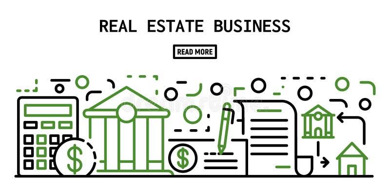 Bannière d'entreprise immobilière, style d'ensemble illustration stock