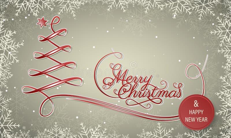 Bannière d'hiver de vacances avec le cadre de flocon de neige Carte de voeux de Joyeux Noël et d'an neuf heureux Arbre de Noël ro illustration de vecteur