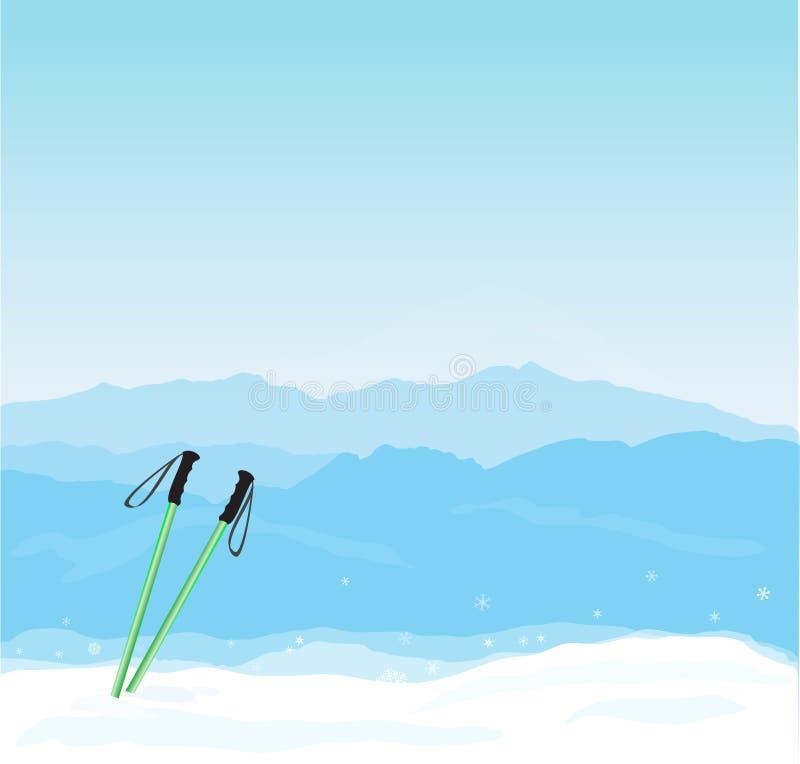Bannière d'hiver de vecteur avec la silhouette de Canigou illustration de vecteur