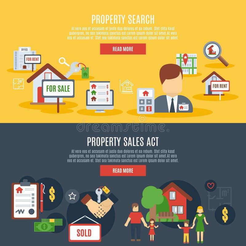 Bannière d'immobiliers illustration stock