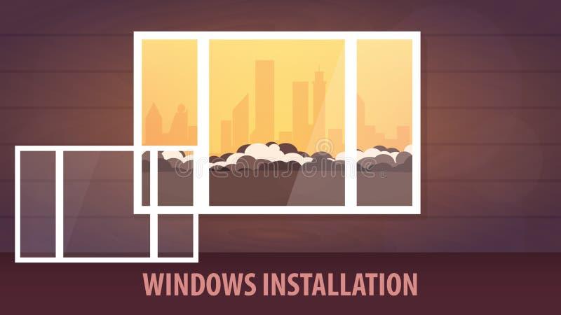 Bannière d'installation de Windows Vue de l'hublot Illustration de vecteur illustration stock