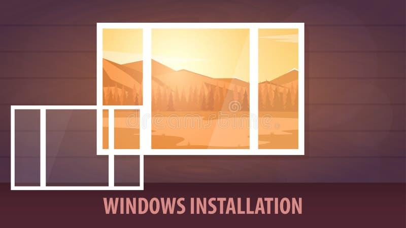 Bannière d'installation de Windows Vue de l'hublot Illustration de vecteur illustration de vecteur