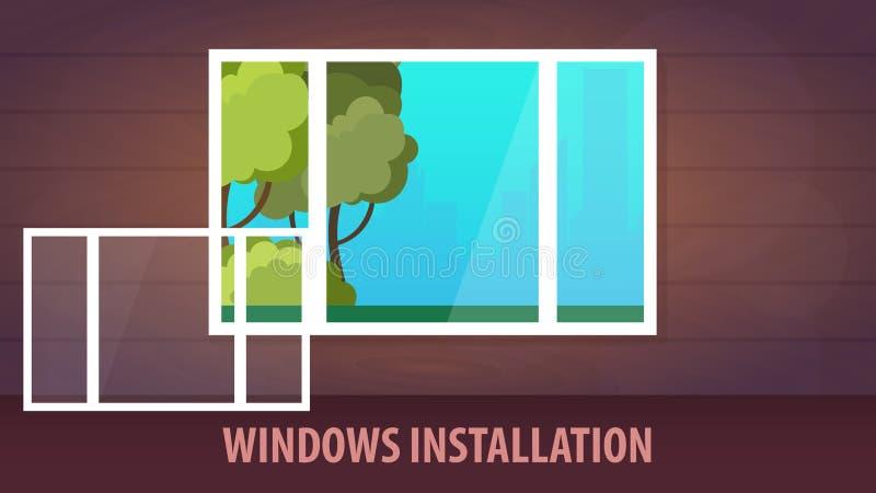 Bannière d'installation de Windows Vue de l'hublot Illustration de vecteur illustration libre de droits