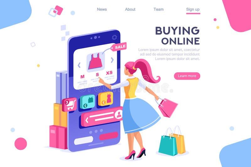 Bannière d'interface graphique d'acheteur de concept illustration stock