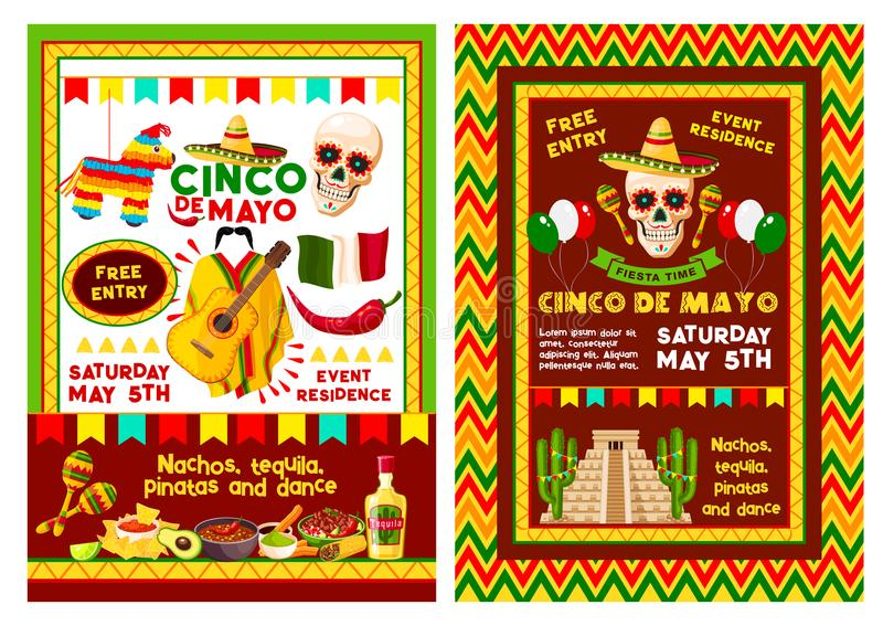 Bannière d'invitation de partie de Cinco de Mayo de Mexicain illustration libre de droits