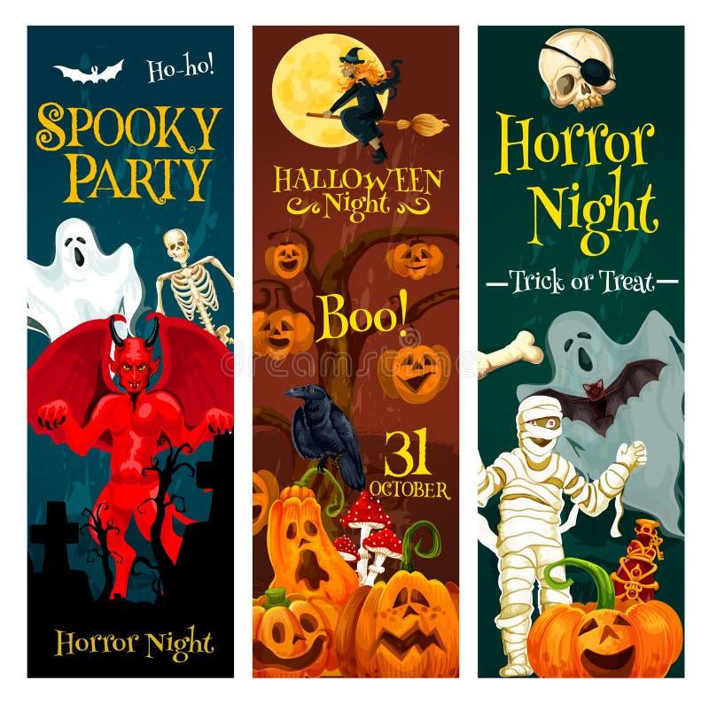 Bannière d'invitation de partie de des bonbons ou un sort de Halloween illustration de vecteur