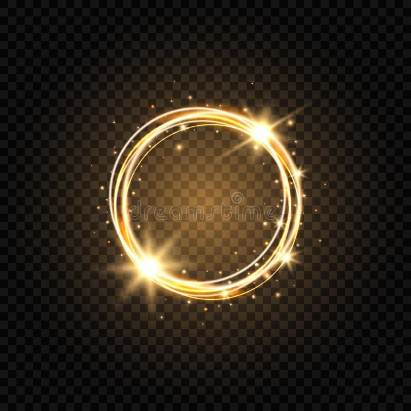 Bannière d'or légère de cercle Fond clair abstrait Cadre rougeoyant de cercle d'or avec des étincelles et des étoiles Rougeoyer m illustration libre de droits