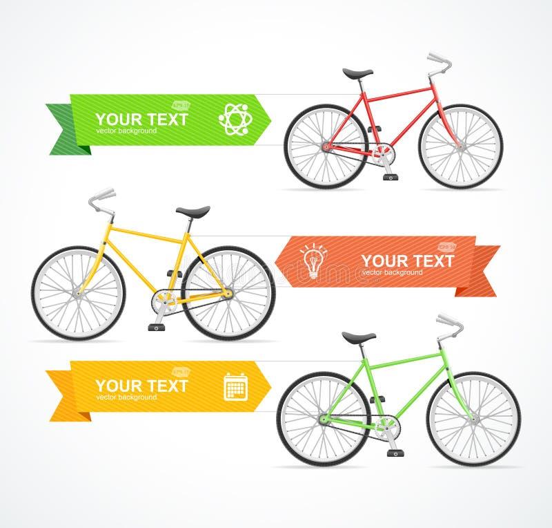 Bannière d'option de vélo de vecteur illustration stock