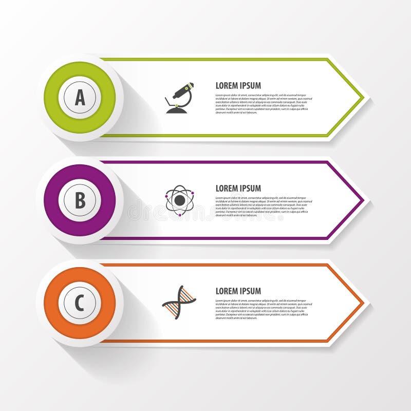 Bannière d'options d'étape d'affaires Illustration de vecteur Descripteur de conception d'Infographics illustration stock