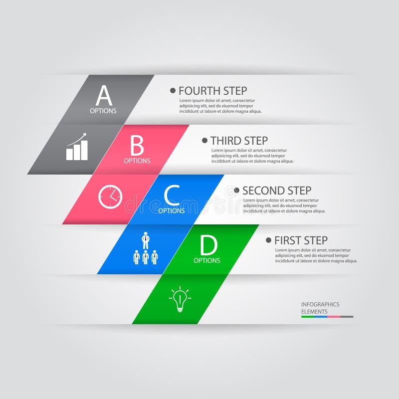Bannière d'options de style d'origami de steb d'affaires Illustration de vecteur illustration stock