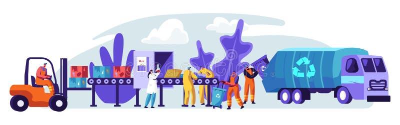 Bannière d'usine de déchets Réutilisant le processus de convertir des déchets industriels en nouveaux matériel et objet Nature de illustration libre de droits