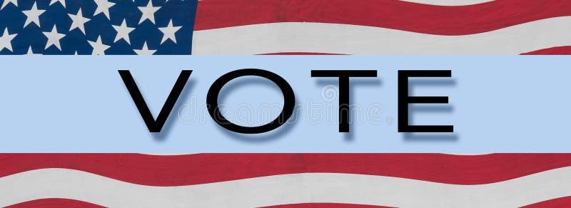 Bannière de bannière étoilée des USA autour de mot VOTE image libre de droits