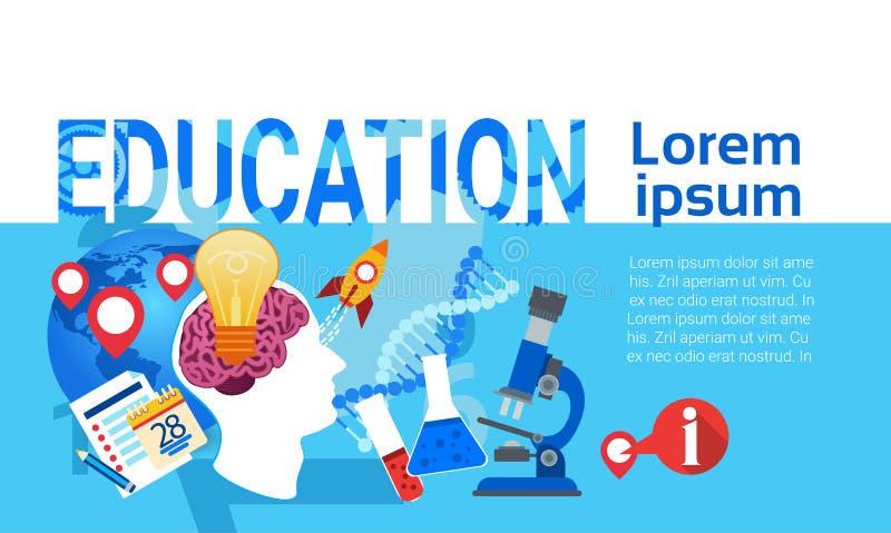 Bannière de étude en ligne de Web de Studing d'université d'école d'éducation illustration stock