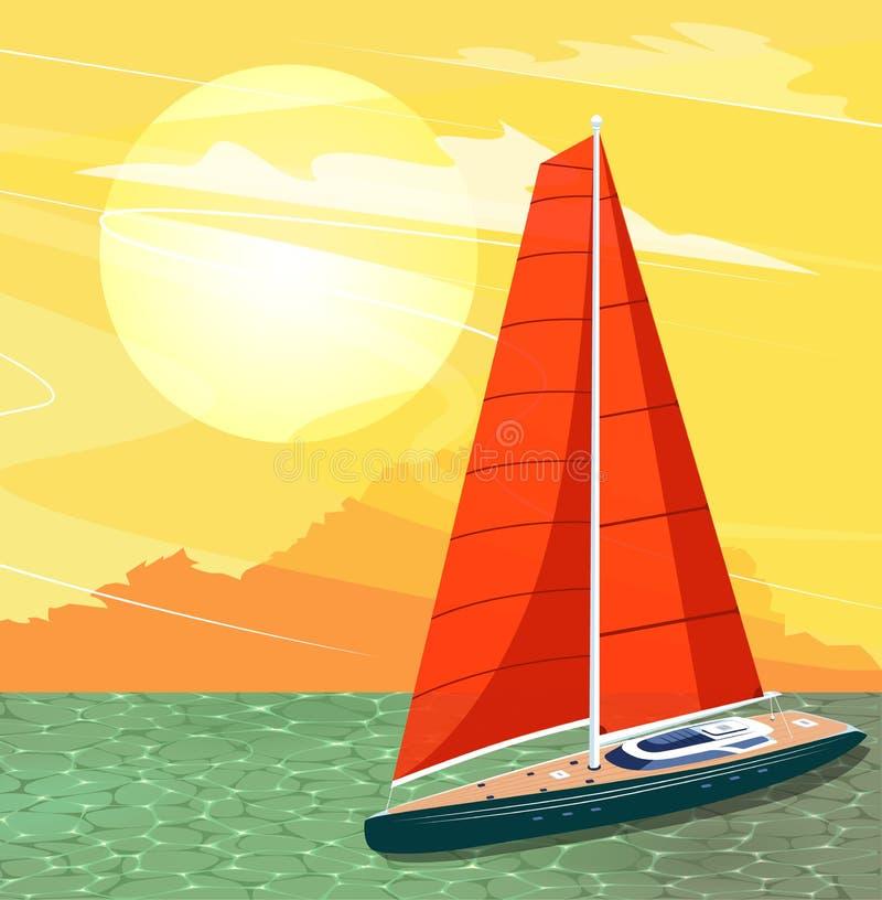 Bannière de bateau de navigation dans le style de bande dessinée illustration stock