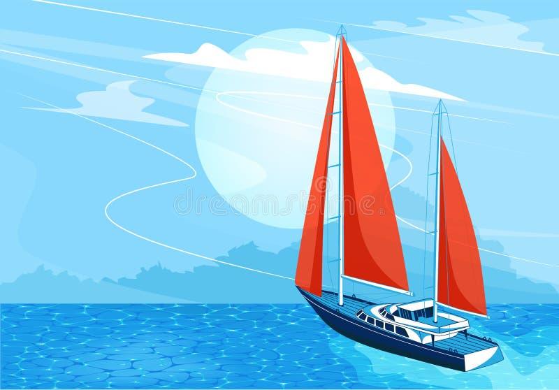 Bannière de bateau de navigation dans le style de bande dessinée illustration libre de droits