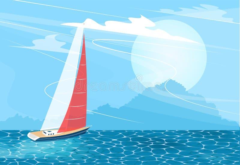 Bannière de bateau de navigation dans le style de bande dessinée illustration de vecteur