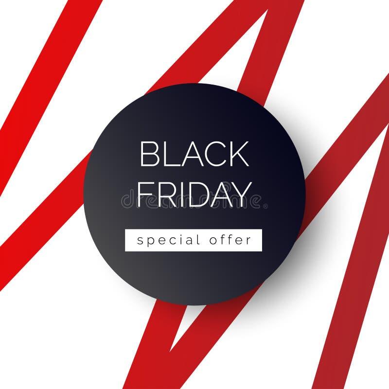 Bannière de Black Friday, calibre pour la promotion sociale de courrier de médias illustration libre de droits