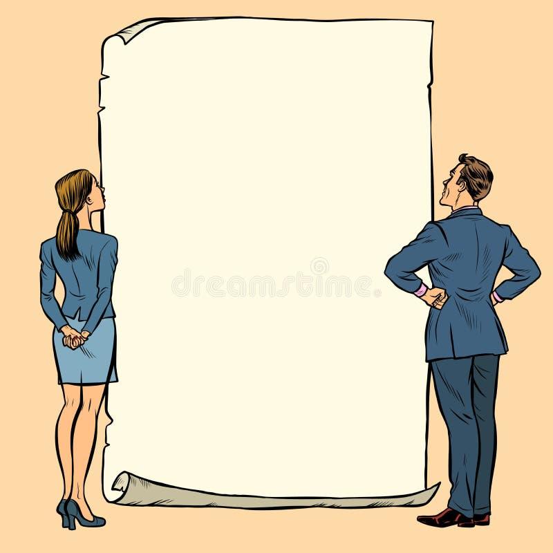 Bannière de blanc d'homme et de femme illustration de vecteur