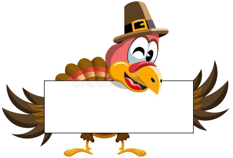 Bannière de blanc de la Turquie de thanksgiving de bande dessinée illustration stock