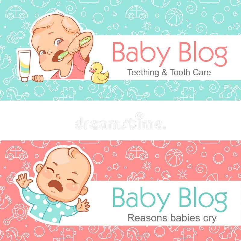 Bannière de blog de bébé teething Soin de dent Cri de bébé illustration libre de droits