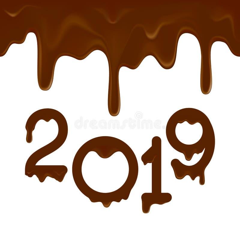 Bannière 2019 de bonne année avec des égouttements de chocolat images libres de droits