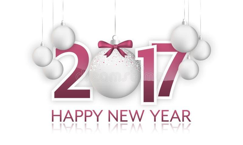 Bannière 2017 de bonne année avec la babiole et l'arc accrochants illustration libre de droits