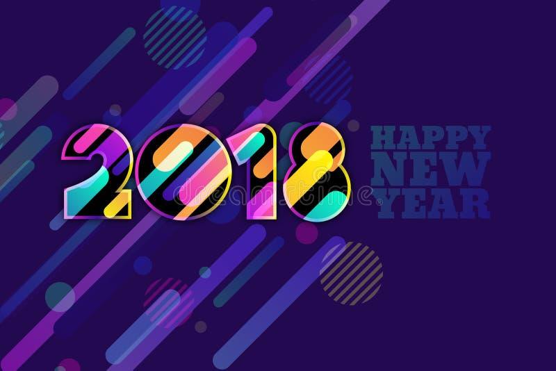 Bannière 2018 de bonne année Nombres multicolores avec la texture dynamique de mouvement sur le fond bleu-foncé illustration libre de droits