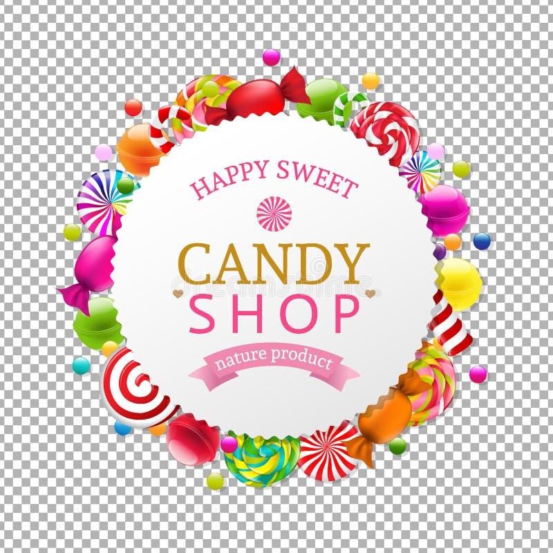 Bannière de boutique de sucrerie illustration de vecteur