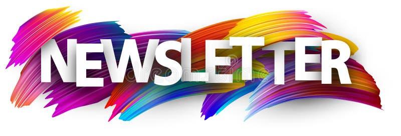Bannière de bulletin d'information avec les courses colorées de brosse illustration de vecteur