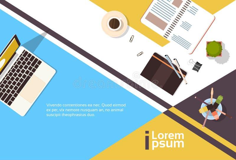 Bannière de bureau d'ordinateur portable de carnet de vue d'angle de lieu de travail d'affaires avec l'espace de copie illustration libre de droits