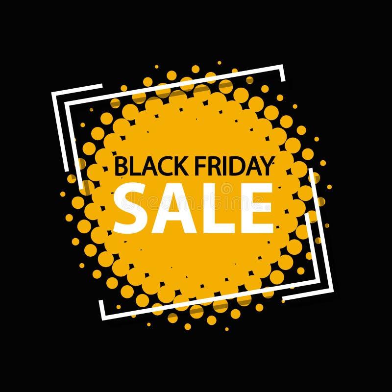 Bannière de cadre de vente de Black Friday - rétro illustration de vecteur dans le style tramé - d'isolement sur le fond noir illustration stock