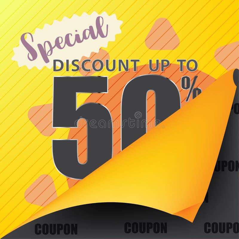 Bannière de calibre de vente de bon de vente à la remise jusqu'à 50%  illustration stock