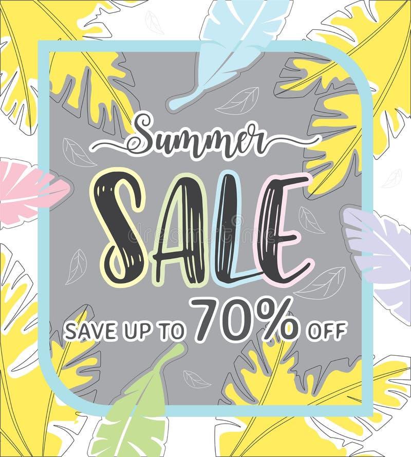 Bannière de calibre de vente d'été, offre spéciale à la remise jusqu'à 70%  illustration libre de droits
