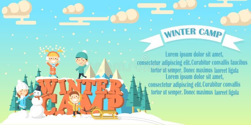 Bannière de camp d'hiver avec des enfants illustration stock