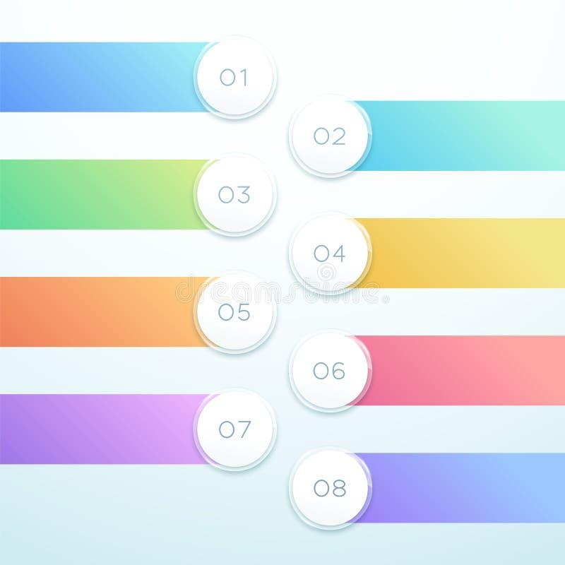 Bannière de cercle du vecteur 3d conception de liste d'Infographic de 8 points illustration stock