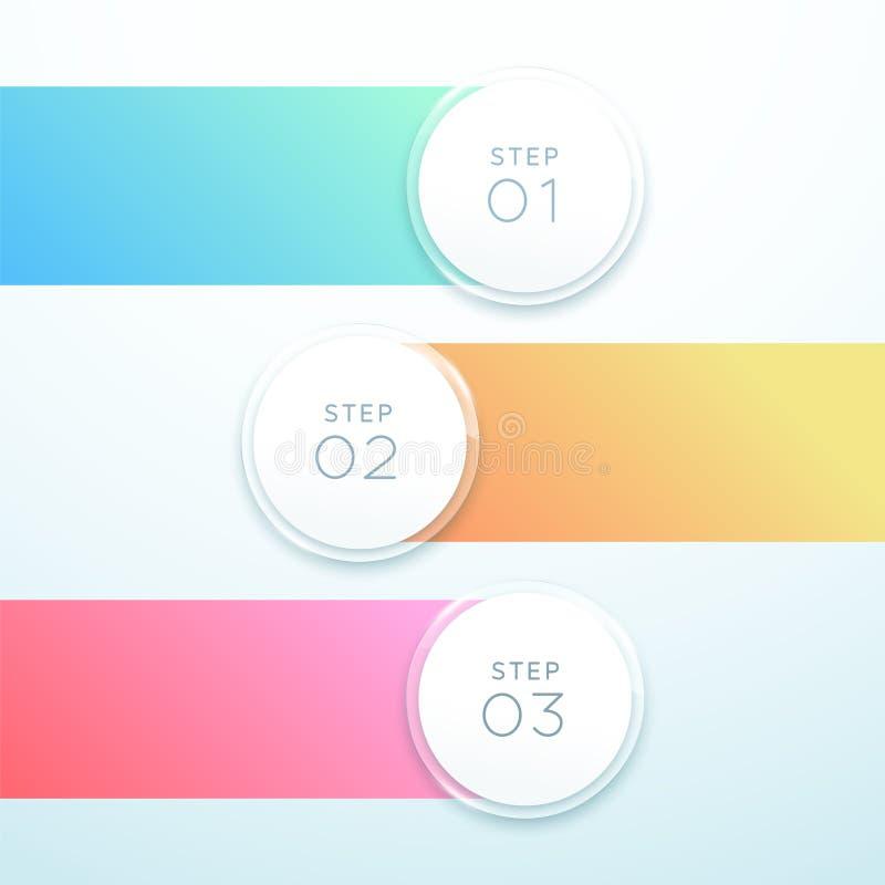 Bannière de cercle du vecteur 3d conception de liste d'Infographic de 3 points illustration de vecteur
