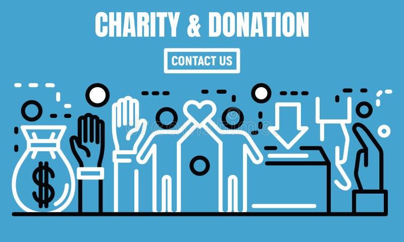Bannière de charité et de donation, style d'ensemble illustration de vecteur